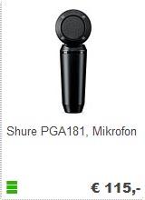 Shure PGA 181 - Kleinmembran Mikrofon kaufen bei Musik Produktiv